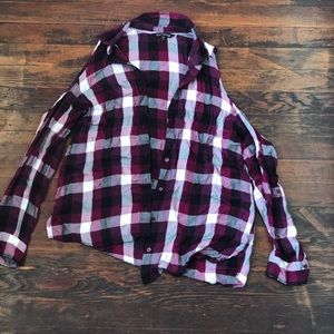 Flannel button up with shoulder cut offs
